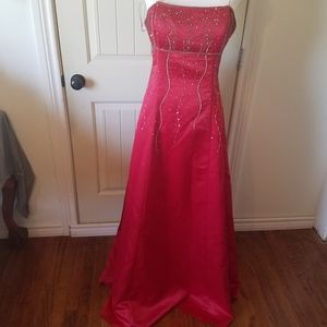 Red Bling gown rhinestones tule satin strapless